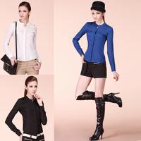 free shipping dress new fashion 2014 Designer Fake pocket satin plus size women's long sleeve blouses white chiffon brand shirts