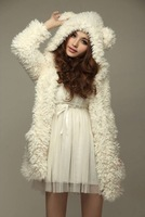 2014 Korean version of the new autumn and winter women's coat jacket stuffed teddy bear ears hooded cardigan jacket big yards