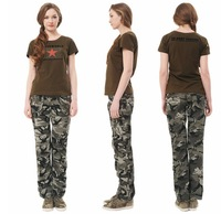 Ladies Camouflage Military Printed Outdoor pants Trousers Straight Overalls