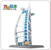 WANGE 1307pcs/set DIY The Burj Al Arab Hotel Of Dubai For Children's Educational Construction Toy Blocks 8018, Free Shipping