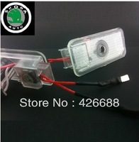 SKODA LOGO Car LED Emblem Welcome Light Door Step Ground Projecting Lamp For Superb Orginal