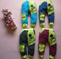 Retail one-piece cotton fleece warm skull autumn trousers Children's leisure casual pants 2014 KP062R