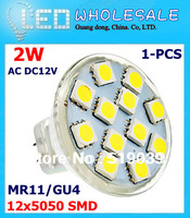 MR11/GU4 5050SDM LED jewelry lamp 2W 12pcs Chips LED Spotlight Bulb 12V Pure/Warm /Cool White