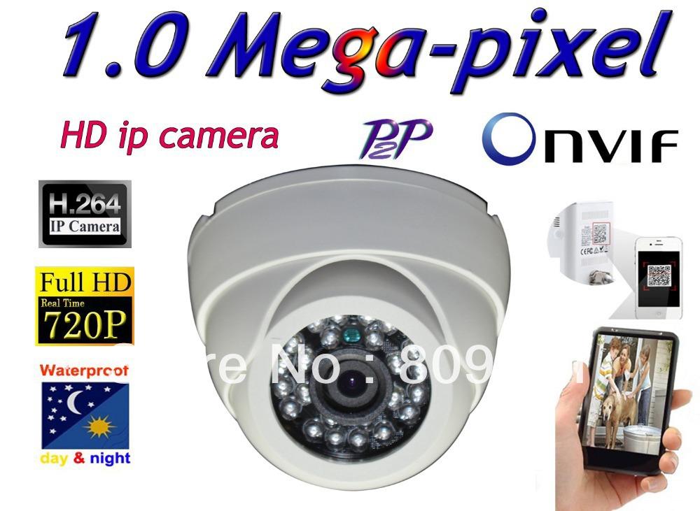 Free shippin CCTV H.264 1.0 Megapixel 1280*720 IP Network indoor Night Vision Security IR Camera(China (Mainland))