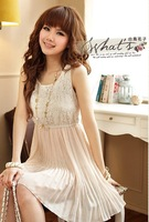 T&LOL New  Women's Lace & Chiffon Sundress Pleated Dress for teen girls