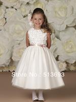 Free shippingFree Shipping Sleeveless Satin Sash Ball Gown Flower Girl Dress 2013