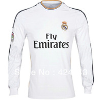 New arrival 13/14 best thai quality real madrid Long sleeve home white RONALDO BENZEMA OZIL ISCO soccer jersey football jersey