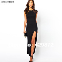 2014 NEW Smss Spring Women's Fashion Slim Fit Back Lace Patchwork Deep V Back Placketing Sexy One Piece Maxi Long Dress Vestidos