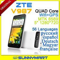 "Original ZTE V987 MTK6589 Quad-core Android 4.1 Multi-language Russian Menu 3G Dual-SIM 5"" 1280*720 IPS free case"