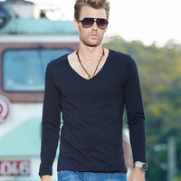 Brief shoreless autumn male V-neck solid color long-sleeve T-shirt men's clothing 100% cotton black basic shirt
