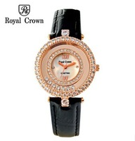 Royal Crown Best Leather Strap Jewelry Watches Luxury Women Quartz Watch Self-Wind Gold Waterproof Original Relogio De Pulso