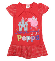 Free shipping 2013 NWT 5pcs/lot 18m~6Y girl embroidery peppa pig series short sleeve with patchwork polka dots dress