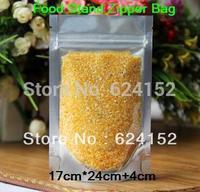 17*24cm+4cm    load 1300g rice standing food visualable bag food zipper plastic bags 100pcs/lot