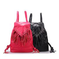 Autumn women's  tassel genuine leather backpack small fresh casual cowhide women's bag