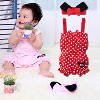 2013 Lovely Girl Baby Infant 3 Pcs Cute Polka Dot Bloomers Jumpsuit Rompers w/ Headband 0-18M Free Shipping # KS0047