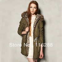 2013 winter new style Army green Drawstring waist fashion women coat Large pockets hooded women's long fur coat for lady 0361