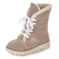 2013 snow boots flat heel platform round toe lacing boots scrub boots fur boots cotton shoes