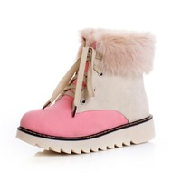 Autumn and winter 2013 flat heel boots color block fur boots lacing boots platform shoes platform boots