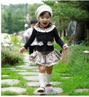 2013 Baby set 4sets /lot girls set Grid 2 pcs (Coat+ skirt) Children Suit Kid Clothes spring wear children sets free shipping
