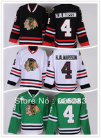 Wholesale Men's Ice Hockey Jerseys Cheap Chicago Blackhawks #4 Nikals Hjalmarsson White Black Green Jersey,Embroidery Logo