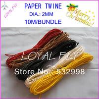 Free shipping paper cord(10m/bundle) 40pcs/lot,  color twisted paper rope raffia ribbon cord 10 color wholesales