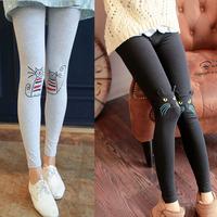 Autumn knee legging cat 100% pattern cotton ankle length trousers kitten print legging