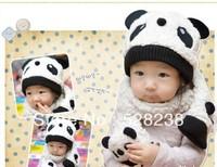 cute winter children  flannel panda cap 1 Cap+ 1 Scarf free shipping