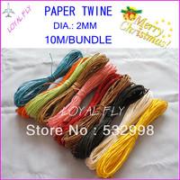 10 color decorative paper rope(10m/bundle) 60pcs/lot,  color twisted paper rope twisted paper twine by free shipping