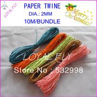 10 color paper raffia rope(10m/bundle) 60pcs/lot,  color twisted paper rope twisted paper twine by free shipping