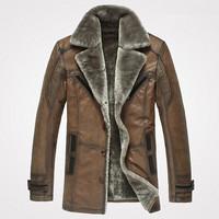 Men's Fur Collar Genuine Leather Jackets Nubuck Cowhide Male Medium Long Suit Collar Leather Overcoat Fur One Piece Fur Coat