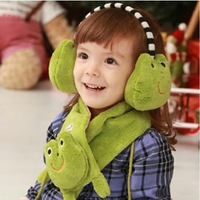 winter child animal thermal style scarf male female child multiple set scarf cute gloves earmuffs