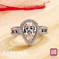 Stamped PT950 heart-shaped  drop  ring jewelry wedding rings women high fashion original