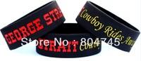 "George Strait Wristband 1""wide band, Silicon  Bracelet Hero Rides Away Concert Tour Merchandise, 50pcs/lot, free shipping"