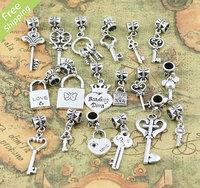 180pc Mix Tibetan silver Heart Crown Lock/Key Dangle Beads Fit European Charm Bracelet K4572