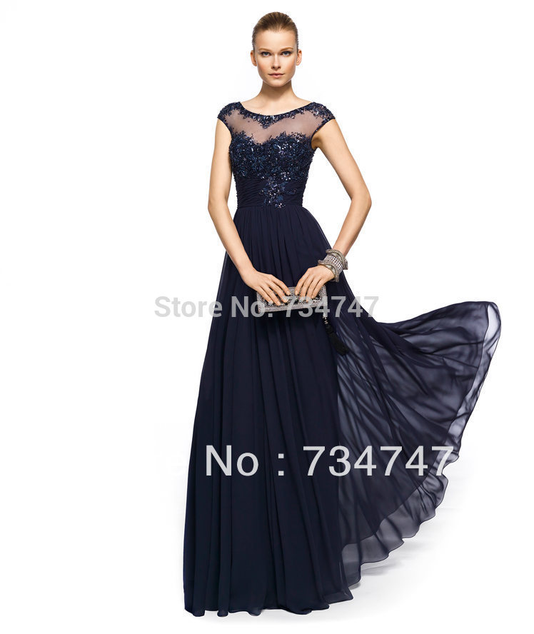 Sexy Sheer Top Evening Dress Formal Gown Elegant Cap Sleeves With Lace Applique Sequins Corset Chiffon Fabric Zipper Back Classy(China (Mainland))