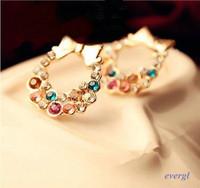 Lovely Cute Fashion 1 Pair Bowtie Garland Crystal Earring Ear Stud Wholesale