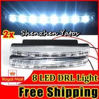 8pcs Super Bright 8LED DRL Daytime Running Light Lamp White DC 12V