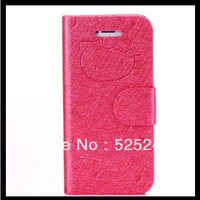 Cute Hello kitty Bowknot Pu Flip Leather Wallet Handbag Case For iphone 5C KT Cat Leather Case For Iphone5C/5S/5G 10PCS/LOT