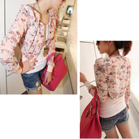 2014 new Women Long Sleeve Floral Print Open Front Casual Chiffon Small coat Shrug Short Jacket outwear Blending Top Pink