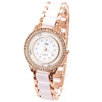 Wholesale Watch Round Dial Diamond Fashion Imitation Ceramic Watches Brand Bracelet Chain White Rhinestone Watches Free Shipping