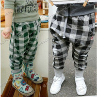2013 autumn plaid paragraph boys clothing girls clothing baby child trousers breeched kz-0005