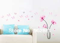 Funlife 200X150cm 80x60in Removable Vivid Pink Flowers 3d Flying Butterfly Art Wall Boarder Sticker For Decoration BD1044