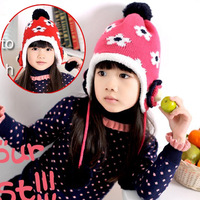 (Min.order is $10) New Winter Cute Kids Baby Infant Velvet Earmuffs Flower Ball Tassel Knit Crochet Cap Hat Wholesale#KB-39