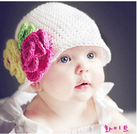 Free Shipping Newborn Baby Photography Prop Handmade Crochet Knit FLOWER Hat Beanie Boutique Wholesale and Retail #KB-30