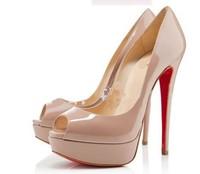 sexy red shoes 2013 women platform high heels  sexy peep-toe red bottom women pumps free shipping