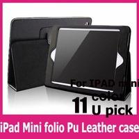 1pcs free shipping case for  ipad mini green folio Business PU Leather Stander Case For Apple iPad Mini Table PC Smart Cover