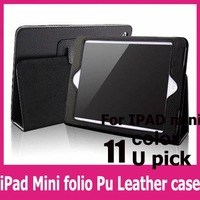 1pcs free shipping case for  ipad mini green folio Business PU Leather Stander Case For Apple iPad Mini Table PC Smart Cover
