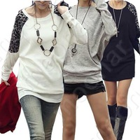 New Arrival Korean Womens Casual Batwing Long Sleeve Round Neck Loose Soft Top Leopard T-Shirt Blouse LE0117#M2