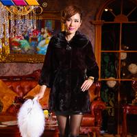 2013 fur collar mink overcoat rex rabbit goatswool fight mink fur coat medium-long women's