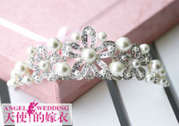 Cii alloy beaded on both sides Hole Triple Crown flower hair accessories wedding jewelry bridal headdress wedding luxury